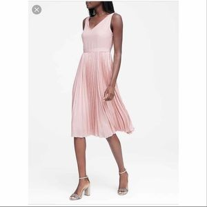 Banana Republic pink fit and flare pleated dress